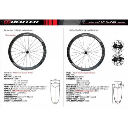 Deuter F3 Ceramic Rim Brake Wheelset 45 - 50mm Profile